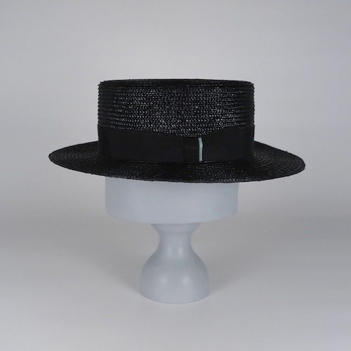 SS21-BD-10 Straw Boater - BLK/BLK/MGR