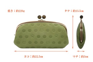 Atelier Kyoto Nishijin/ねこと肉球の型押しが可愛い・牛革・抗菌・抗ウイルス加工・がま口長財布・鶯色(うぐいすいろ)・日本製
