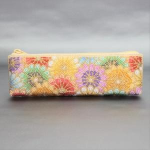 メガネ・ペンケース 258 多色菊 ビーズ刺繡