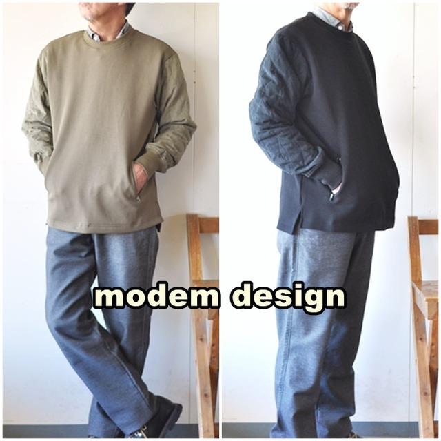 modemdesign  モデムデザイン 袖キルティングスウェット  2103851  メンズ スウェット カットソー