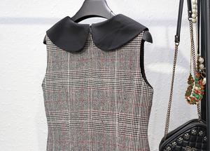 【再入荷】丸襟タータンチェック柄ワンピース