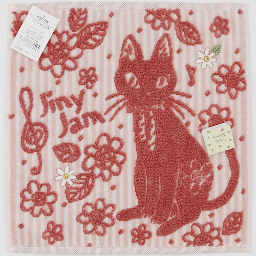 猫タオルハンカチ(ジニージャム)ピンク