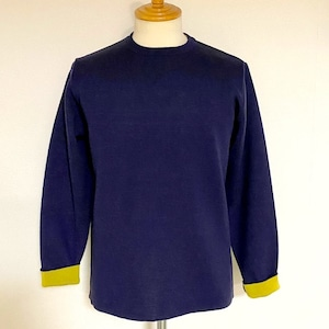 Switch Color Crew Neck Knit Navy / Yellow