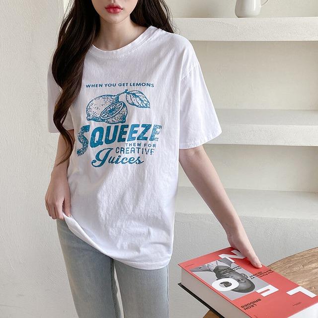 ヴィンテージ風プリントルーズ半袖Tシャツ S3976