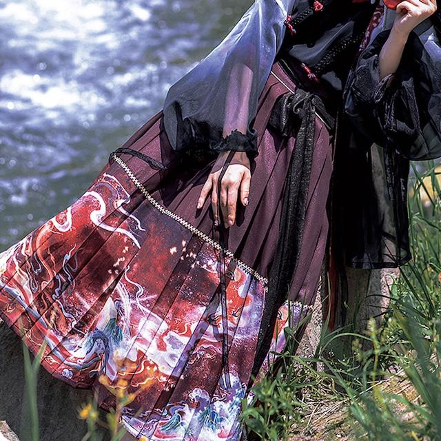 【花悅詩風シリーズ】★チャイナ風スカート★ ウエストゴム プリーツスカート ワインレッド 赤い