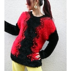 Euro shaggy knit sweater【Black × red】