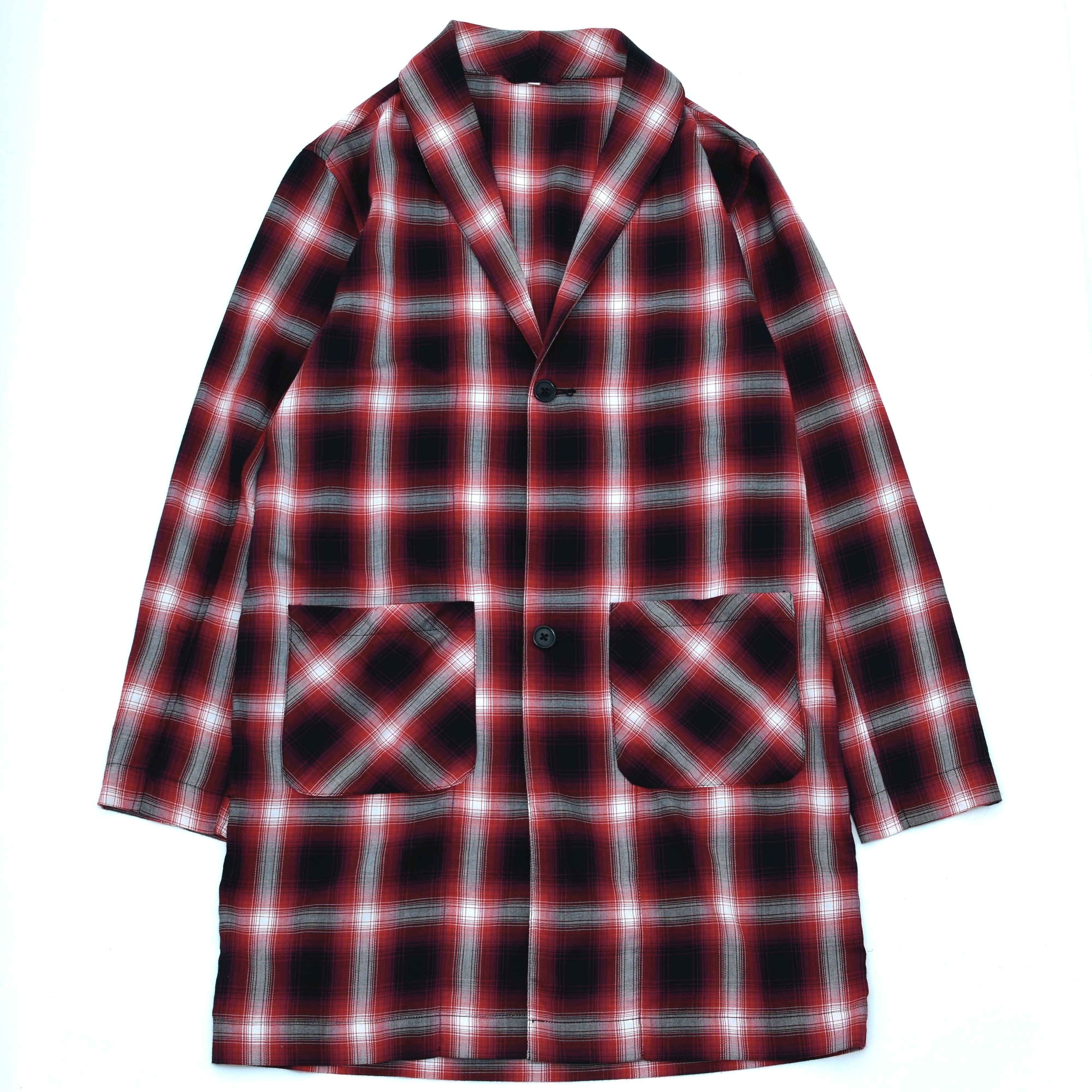 Shawl collar ombre check shirt coat