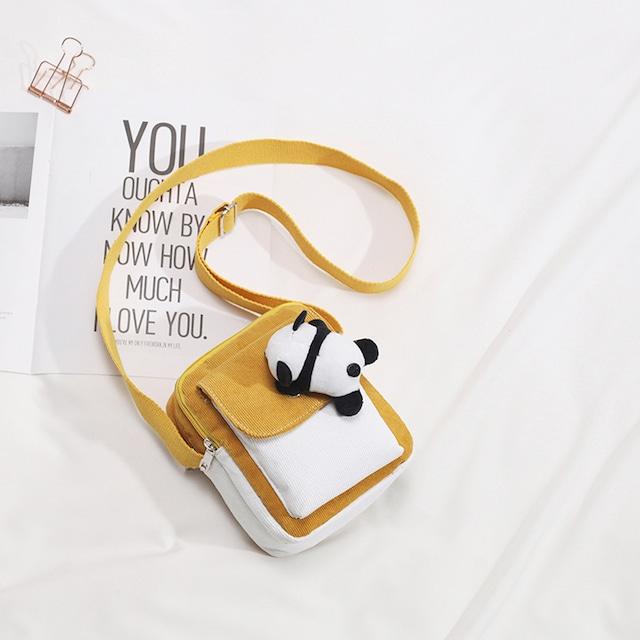 【伊梵絡シリーズ】★ショルダーバッグ★ 4color 黒or緑or黄orピンク パンダ 可愛い 小さい カジュアル