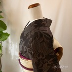 大島紬 黒地に紫の花 袷