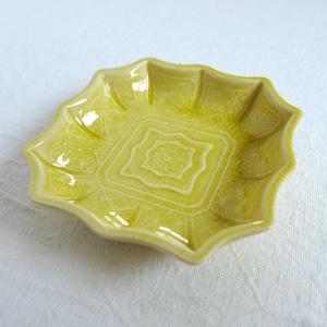 【30714】 珉平焼(1個) 明治 / Minpei Yaki Plate Yellow / Meiji Era