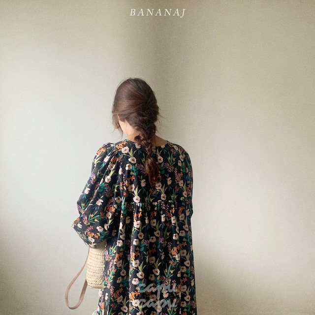 «sold out»«ママサイズ»  banana j flower balloon one piece フラワーバルーンワンピース