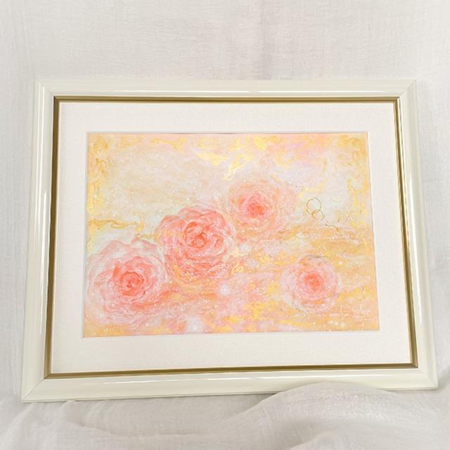 薔薇の絵 マリアンローズ ベビーピンクのバラ