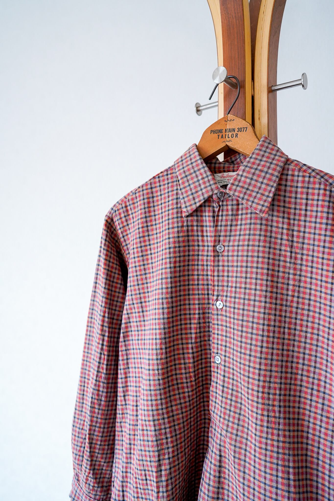 "【1950s】""Netherlands Made"" Euro Vintage Grandpa Shirts / v693"