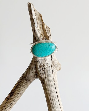 Turquoise silver bangle / on the beach    OBH-27