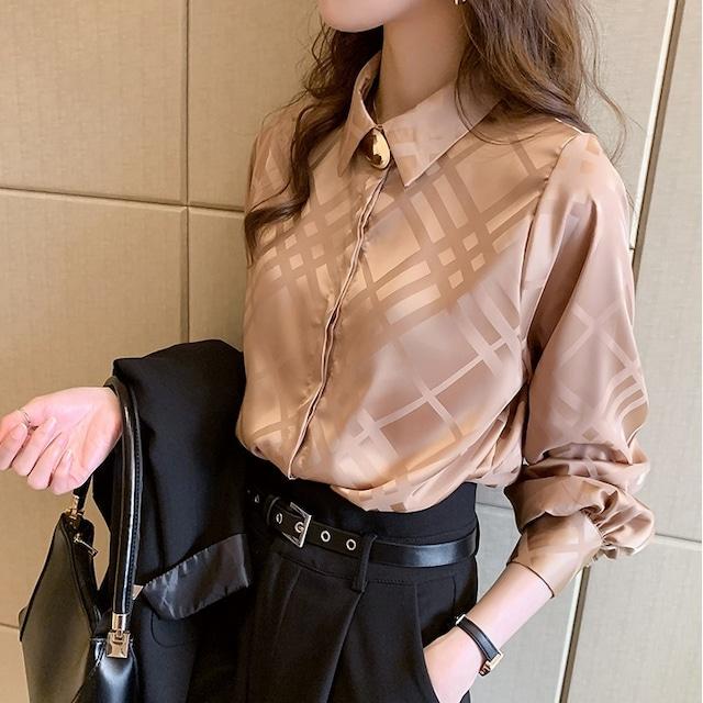 クロスライン サテンシャツ(3color) B210324