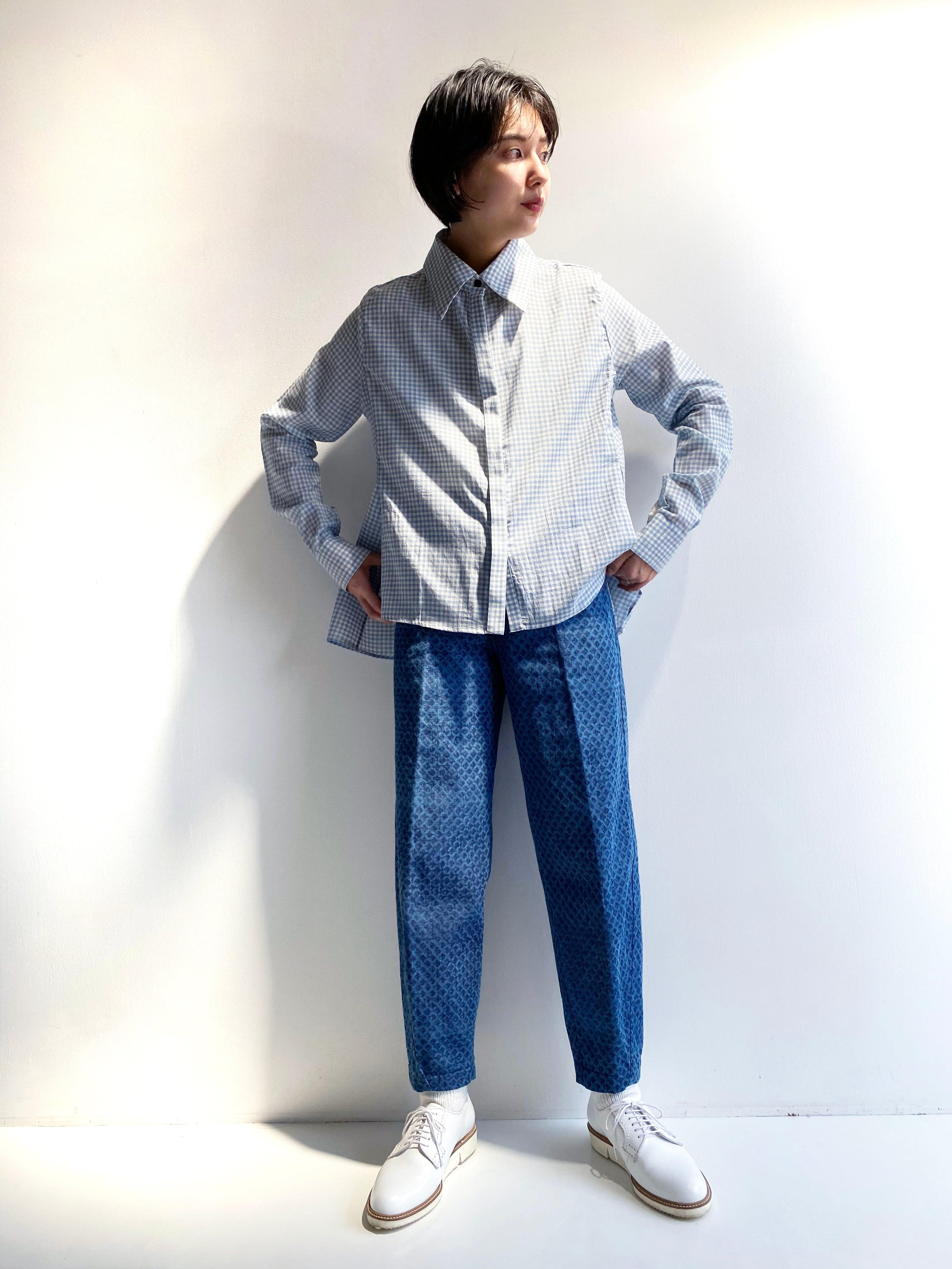 "Side slit blouse ""Blue gingham check"""
