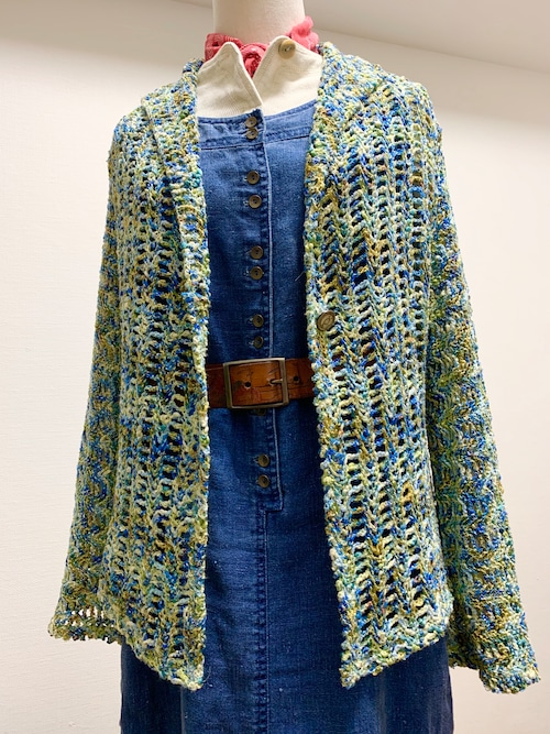 Vintage Hand Knit Mesh Cardigan Made In USA