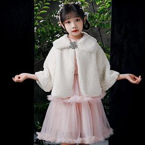 1516キッズ ボレロ  子供 ドレス 子ども フォーマル カーディガン 女の子ポンチョ キッズ ボレロ マント ファー 白色100cm-165cm