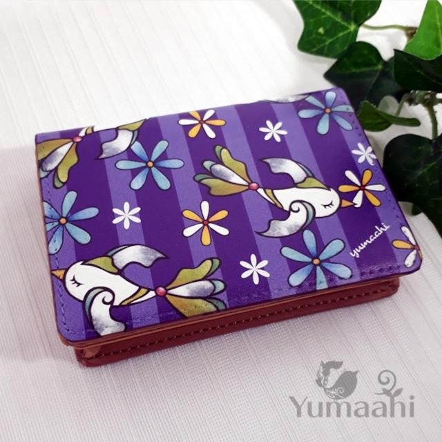 カード ケース 名刺入れ : 夜のお花畑へ 小鳥 紫