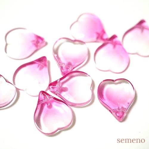 4+1pc ハートの花びらのガラスビーズ チャイナガラス ピンク