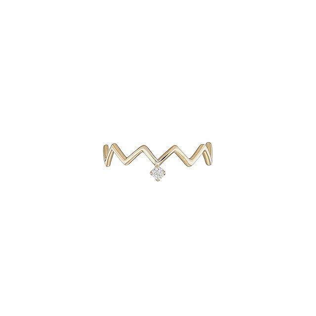 K18 Zig-Zag Ring with a Diamond (#5〜#16)