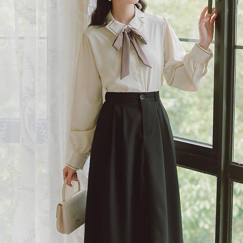 【2点セット】リボン付きブラウス+スカート ・19114