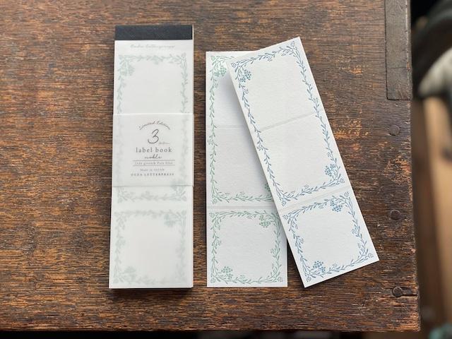 【活版印刷】Limited Edition / 3pattern labelbook [ Noble Jade green& Pale blue]