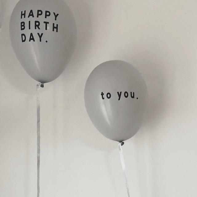 """【即納】""""HAPPY BIRTH DAY"""" Balloon 5pacs (バルーン/グレー) UNICOM:TB007"""