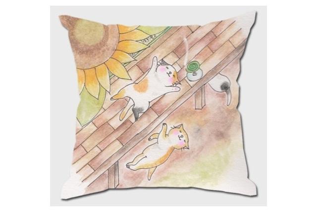 向日葵と猫のクッションカバー
