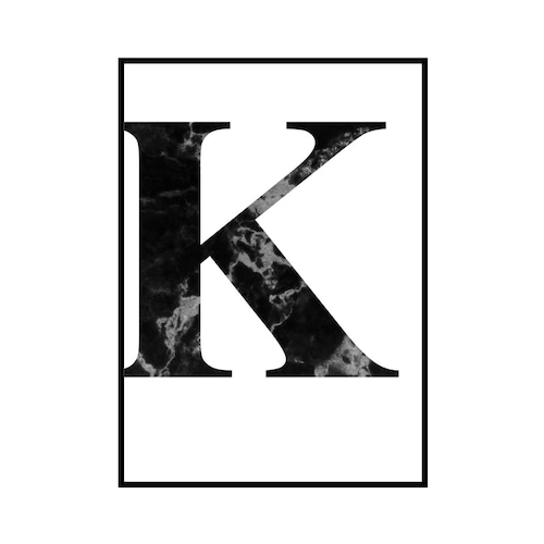 """K"" 黒大理石 - Black marble - ALPHAシリーズ [SD-000512] A2サイズ ポスター単品"