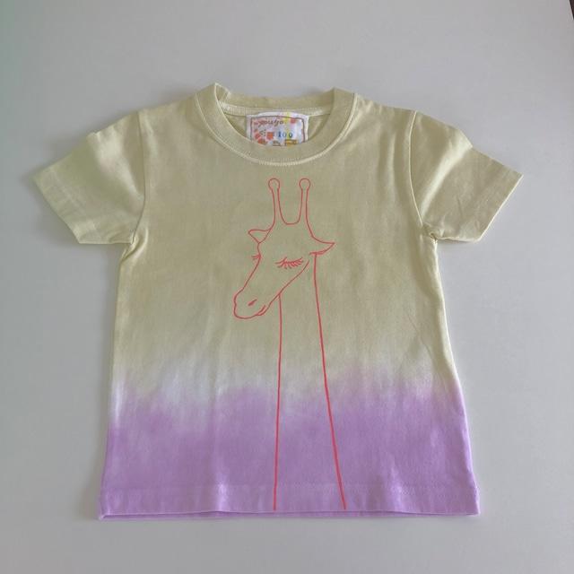 kidsTシャツ100cm「おすましキリン 段染め」100-21418