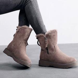 【シューズ】定番シンプル絶対欲しい丸トゥ暖かいショート丈ブーツ52902974