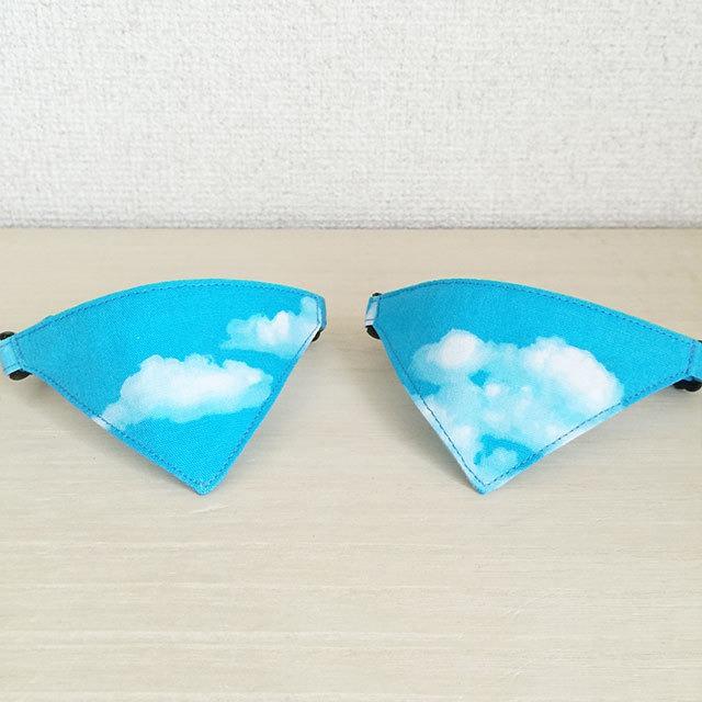 【青空柄】猫用バンダナ風首輪/選べるアジャスター 猫首輪 安全首輪 子猫から成猫