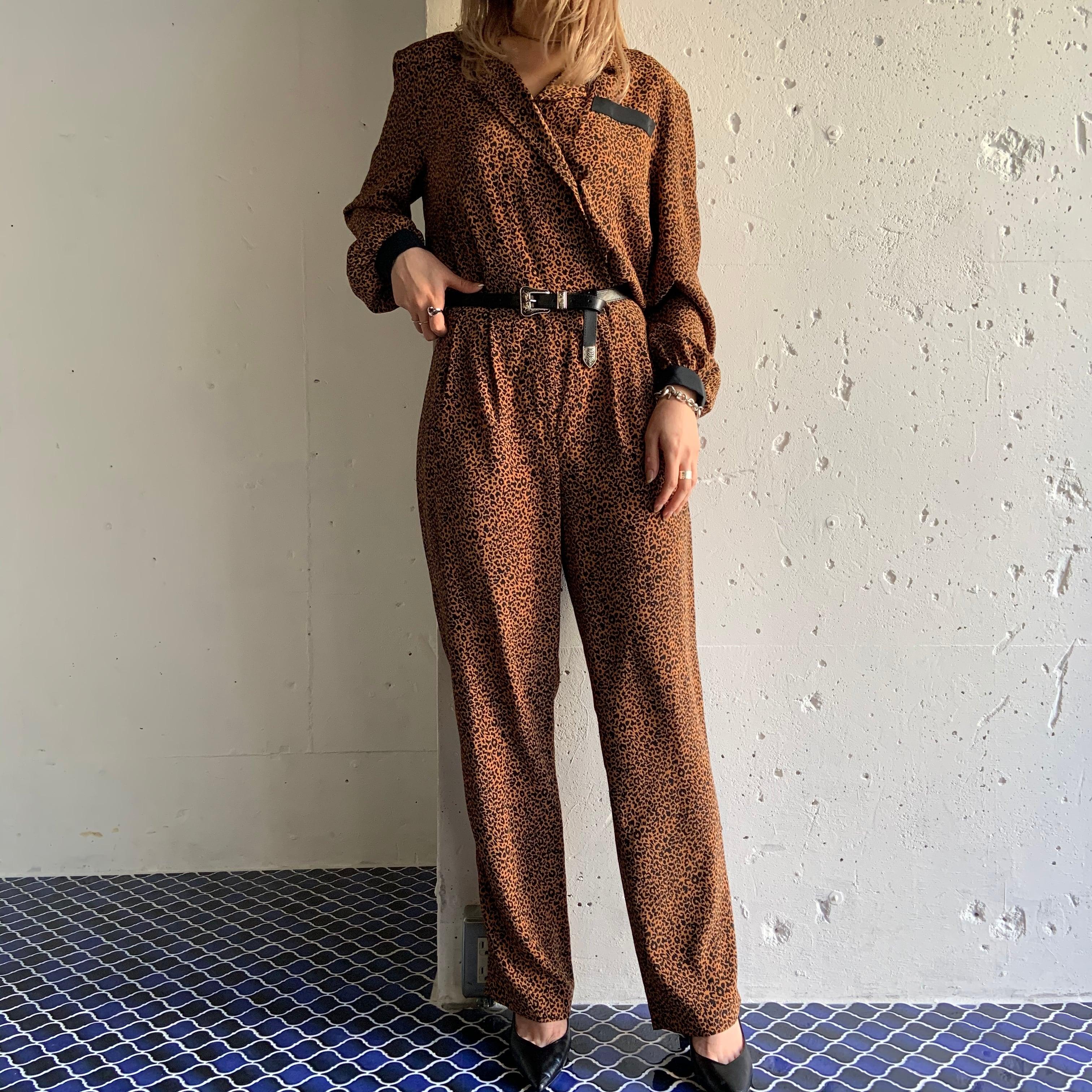 80's Vintage leopard pattern jumpsuit