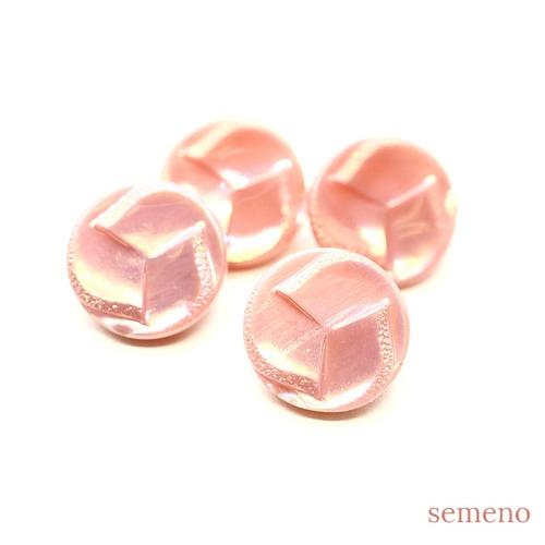 (8/25 20時より再販)ピンク オーロラ みつどもえ チェコガラスボタン ヴィンテージボタン PCZB290