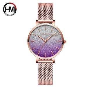 HMステンレススチールメッシュ腕時計トップブランドラグジュアリージャパンクォーツムーブメントローズゴールドデザイナーエレガントなスタイルの時計女性用1323WF4