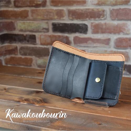【受注制作】シンプルデザインの2つ折りハーフ財布 (KA002b2-10)
