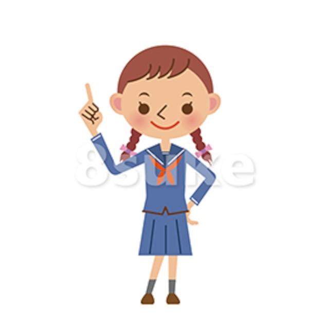 イラスト素材:指差しをするセーラー服姿の女子中学生・高校生(ベクター・JPG)