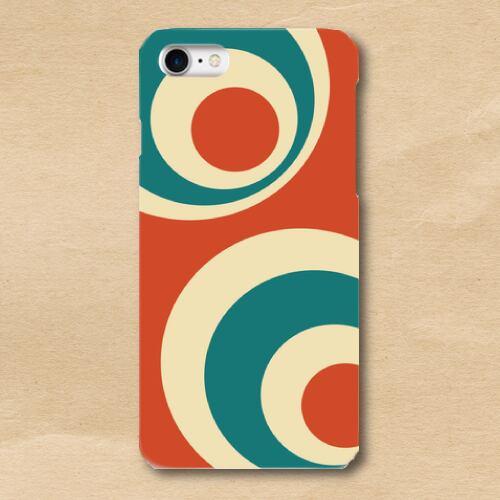 レトロポップ/橙/青緑/水玉/iPhoneスマホケース(ハードケース)