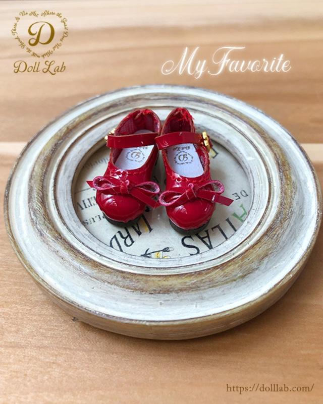 (Sofia) ソフィア エナメルリボン靴 ドール シューズ  赤 ブライス D2007-RED-30