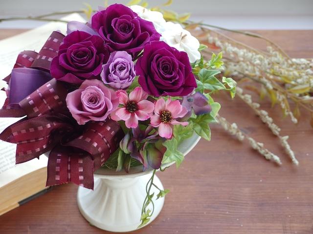 しっとり華やか・紫のバラのコンポートアレンジ