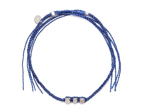 Brass Beads Misanga/Blue×Silver (Gold/Silver)(Bracelet/Anklet)[真鍮ビーズミサンガ]
