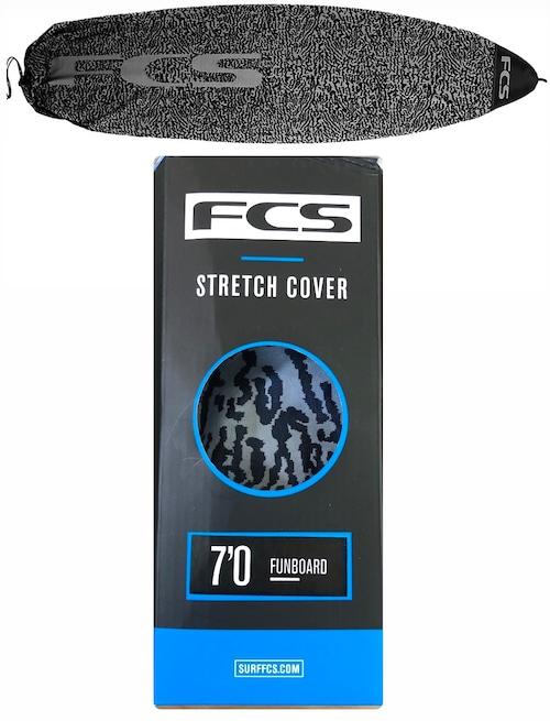 "FCS サーフボードケース ファンボード用 7'0"" Stretch Fun Board Cover ストレッチファンボードカバー ブラック グレー"