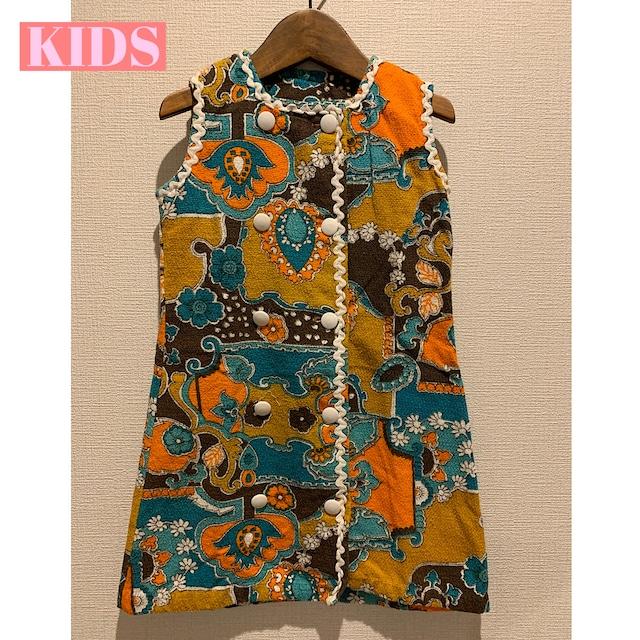 【送料無料】【KIDS】Vintage 60/70's floral terrycloth dress French-Size 5 years old-