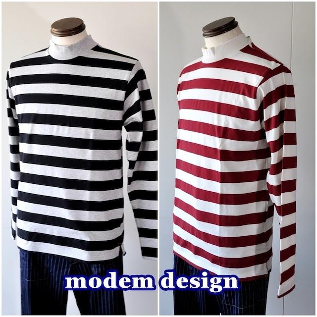 MODEMDESIGN モデムデザイン 長袖 ロンT Tシャツ メンズ カットソー ボーダー ハイネック 1803352 日本製