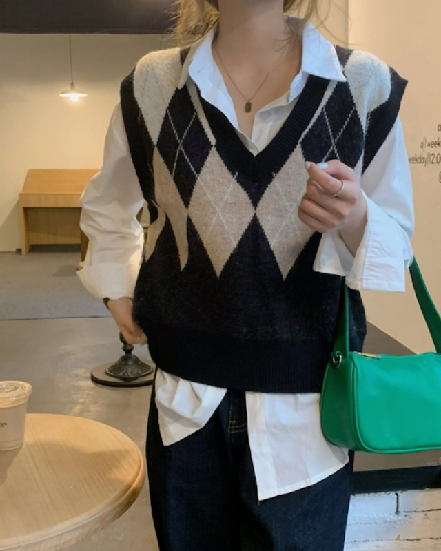 half argyle knit vest