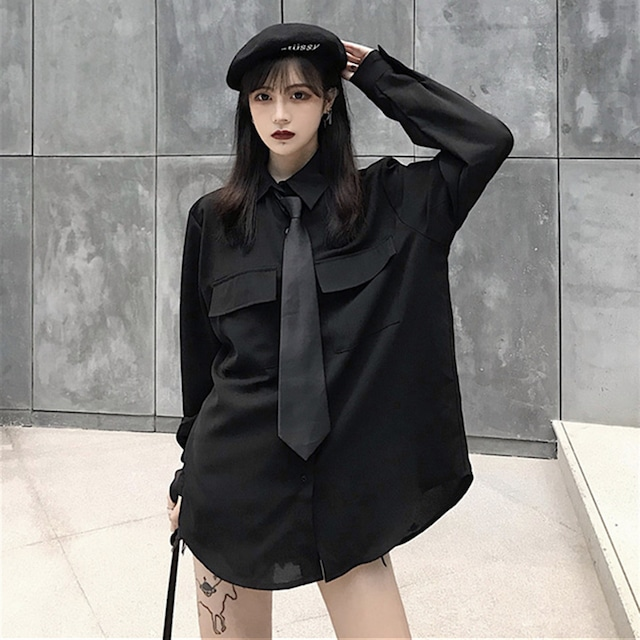 【トップス】韓国系長袖シングルブレストPOLOネックシャツ+ネクタイ24221768