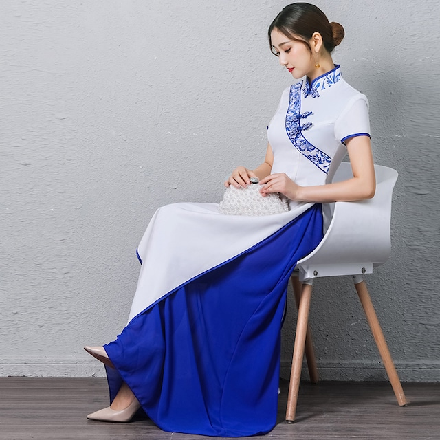 アオザイ 民族風 ロングドレス ワンピース 花嫁 ブルー ホワイト S~4L 染付シリーズ 舞台衣装 撮影