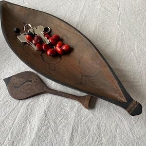 木彫りのカヌー7 全長36cm 先住民族の工芸 一刀彫り