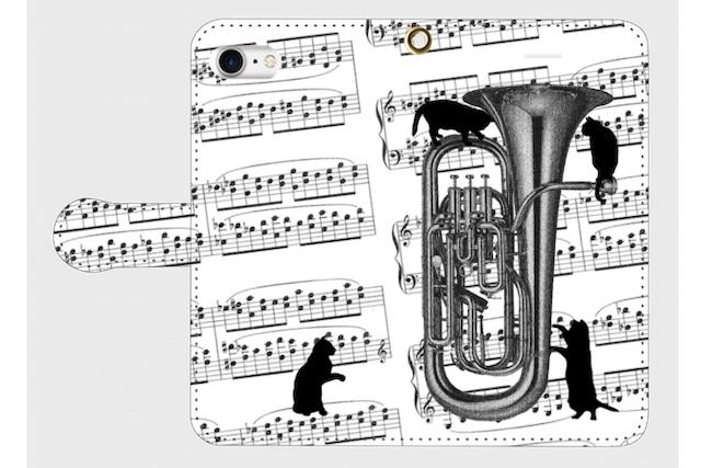 (iPhone用)ユーフォニアムと黒猫の手帳型スマホケース
